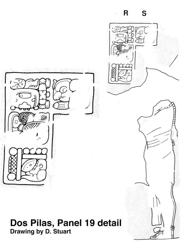Figure 3. Figure from Dos Pilas, Panel 19, with detail enlarged (drawing by David Stuart)