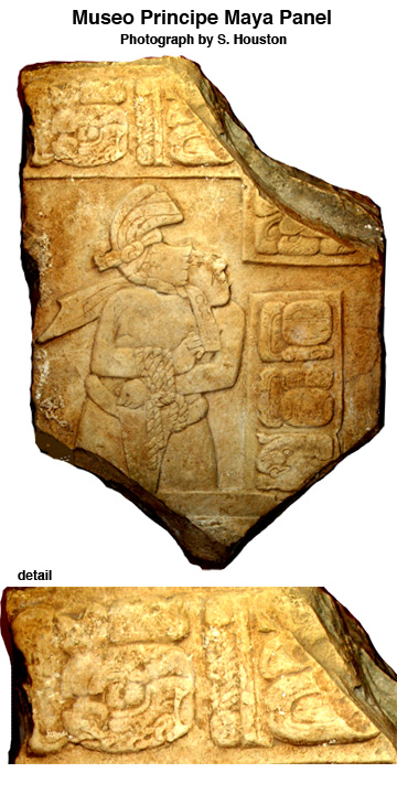 Figure 1. Museo Principe Maya panel, with detail (Photograph by S. Houston)