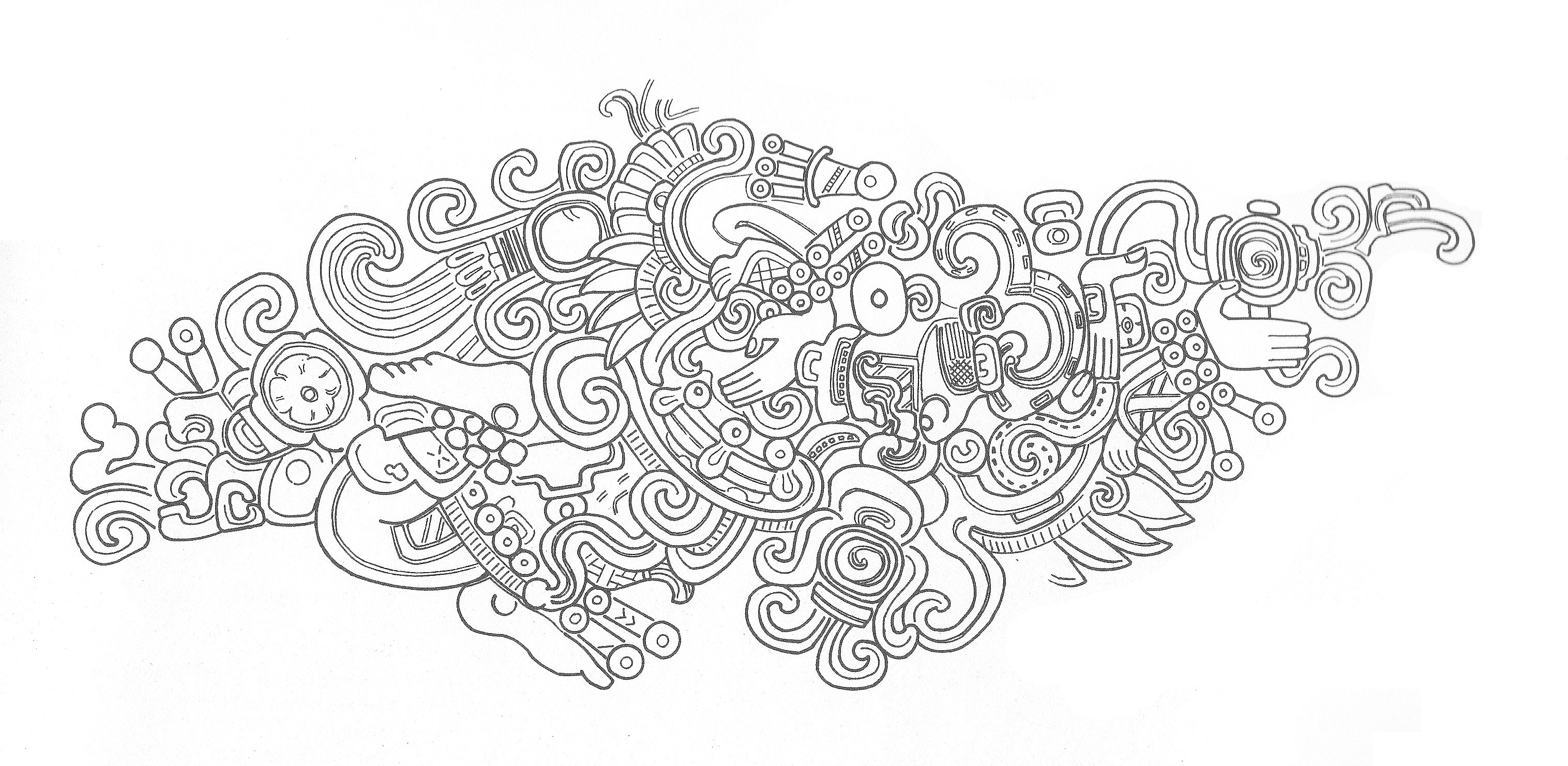 mayan sun god drawing sketch coloring page