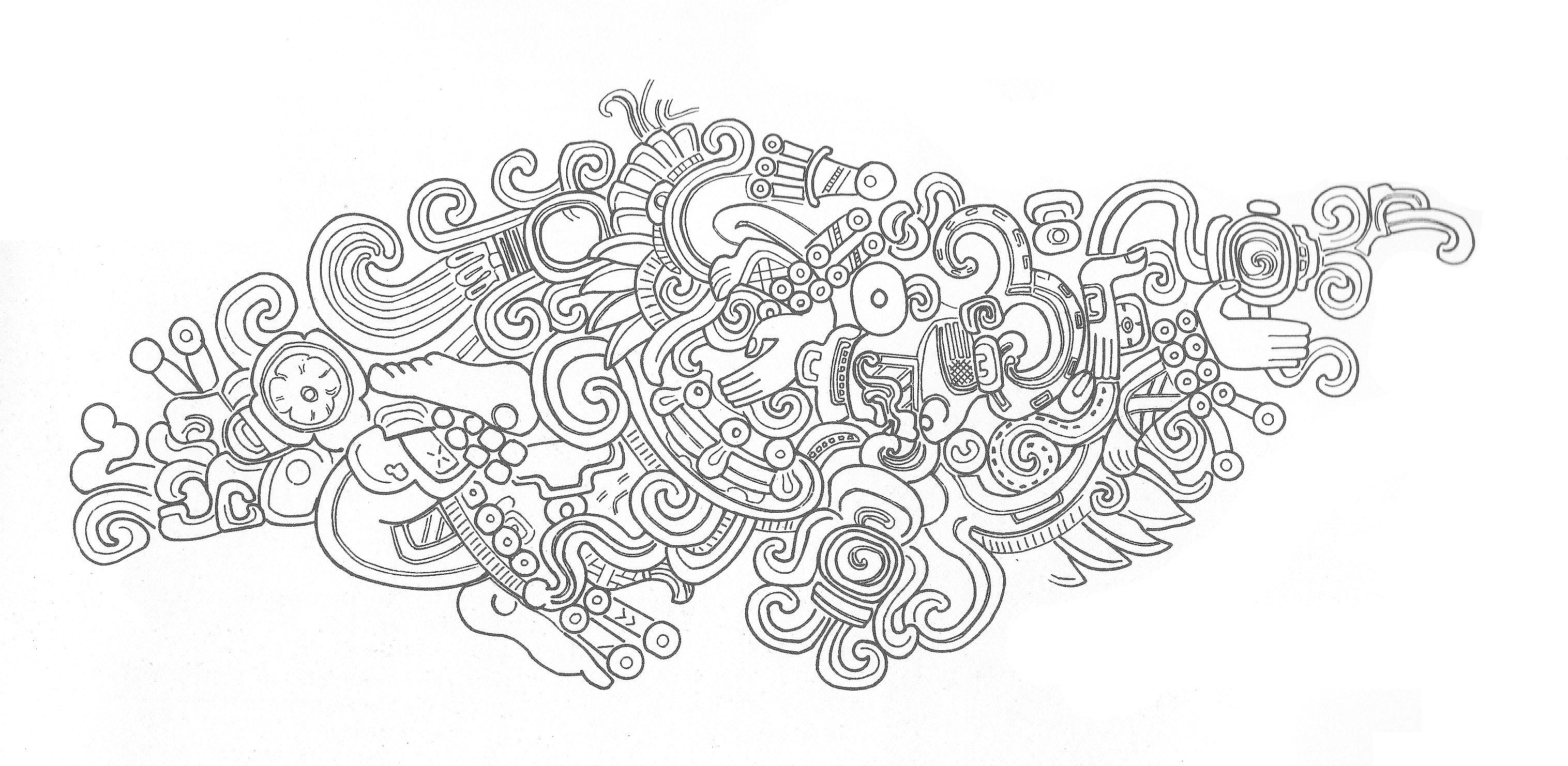 mayan sun god drawing sketch coloring page
