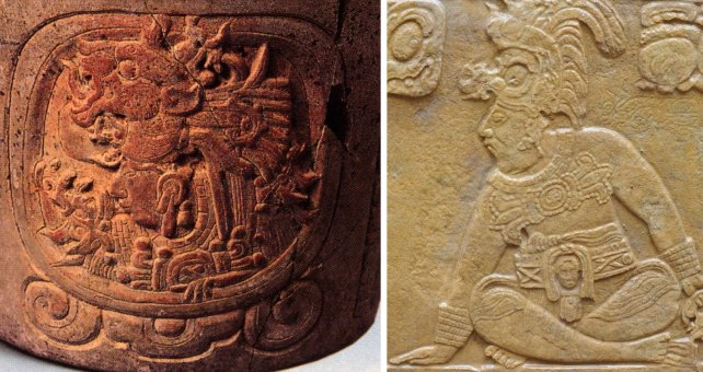 Two portraits of Yuknoom Ch'een, king of the Kan dynasty. Left: the king as the day sign Ahaw, from the Schaffhausen vessel; RIght: from Block VIII or HS2 at La Corona (D Stuart photo).