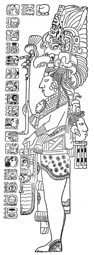 The Tzendales stela. This drawing was published by Herbert Spinden in 1913, based on Tozzer's original field sketches.