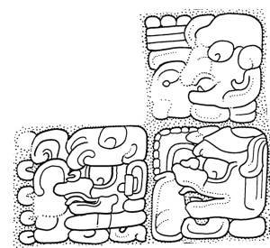 FIgure 4. Teotihuacan War Serpent title with the name of Yuknoom Yich'aak K'ahk', from Block 5 of Hieroglyphic Stairway 2 at La Corona. (Drawing by David Stuart)