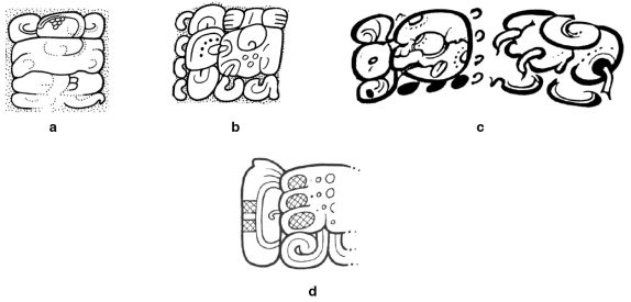 FIgure 3. Name variants of the Calakmul ruler Yuknoom Yich'aak K'ahk'. (Drawings a and b by David Stuart; c and d by Simon Martin).