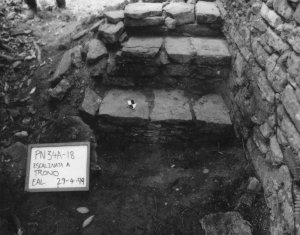 Figure 5. Interior stairway leading from area of Throne 2 to upper, western room, 1999, Operation PN34a-18 (photograph by Zachary Hruby)
