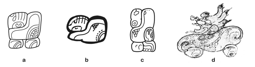"Figure 2. The ""maguey metate"" place name. (a) TIK St 31, (b) COL La Florida(?) vessel, (c) COP St 4, (d) COL vessel K1882. Drawings by D. Stuart; K1882 Photo by J. Kerr."