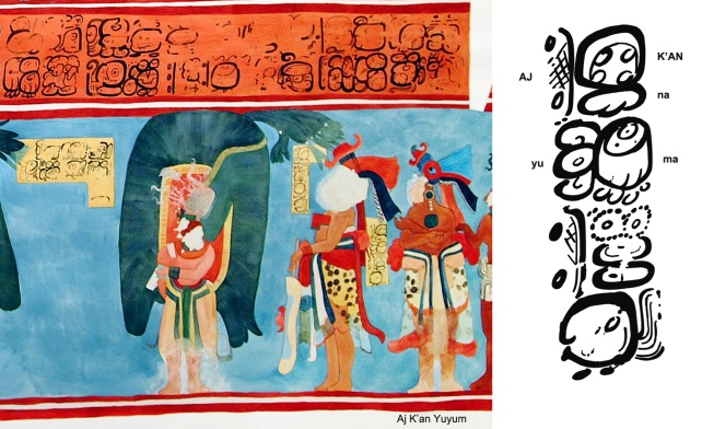 Figure 1. Aj K'an Yuyum and his name caption, from Room 1 of the Bonampak murals. (Watercolor copy by H. Hurst; Caption drawing by D. Stuart)