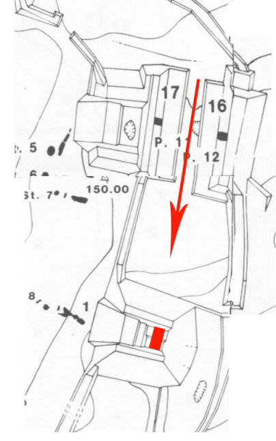 Figure 1. Alignment of ballcourt and pyramid at Dos Pilas, Guatemala, with red rectangle indicating location of royal tomb (map by Stephen Houston).
