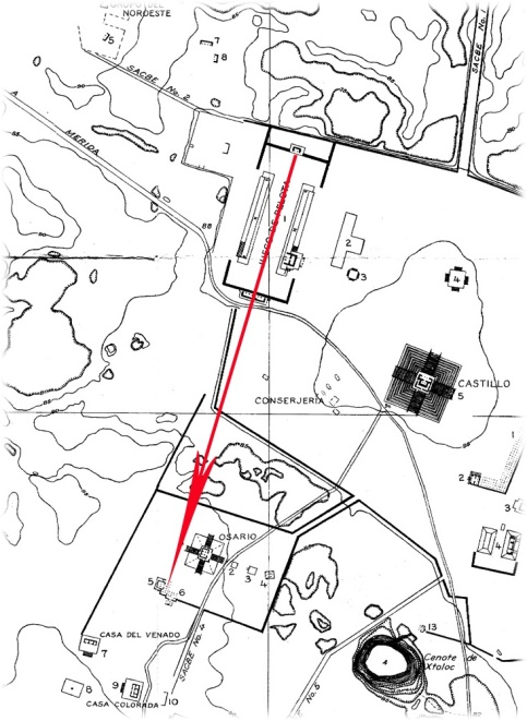 Figure 5.  Alignment between the Great Ballcourt and the Osario at Chichen Itza (map by J. O. Kilmartin and J. P. O'Neil, with emendations by Karl Ruppert, Carnegie Institution of Washington).