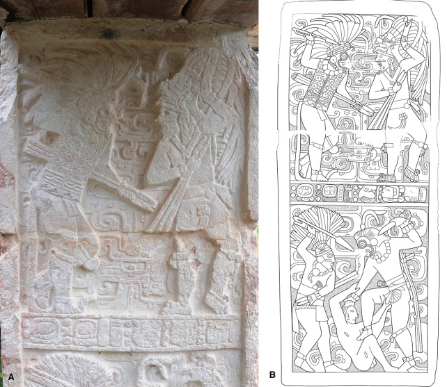 Figure 2. The north jamb from Room 21 (Eastern Door) of the Codz Pop, (a) detail photo by D. Stuart, (b) Drawing by M. Rubenstein.