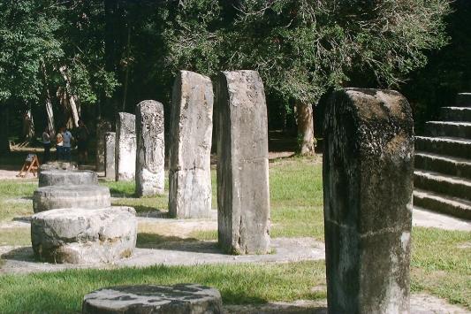 Figure 2. Uncarved stelae and altars at Tikal.