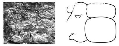 Figure 3. The celebrant of the Period Ending, Tikal Temple VI (D16): a) Photograph by Gordon Echols; b) Drawing by the author.