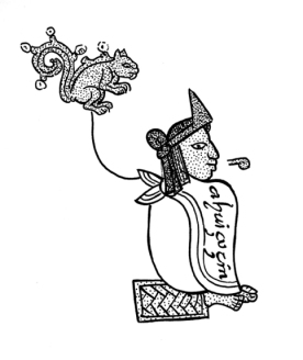 Figure 2. The xiuhhuitzolli headband on a royal portrait of Ahuizotl, from the Mendoza Codex (Drawing by the author).