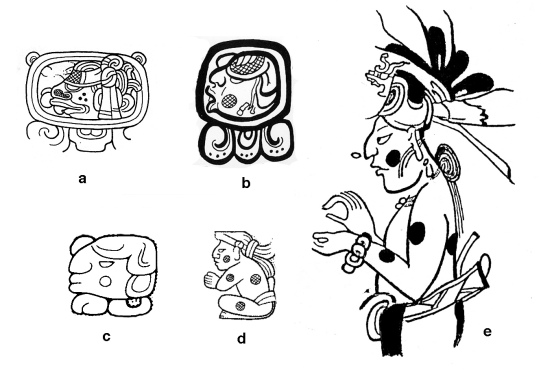FIgure *. AJAW head forms. (a, b) as day signs, (c, d) as a royal title, (e) portrayed of the mythical hero Juun Ajaw.