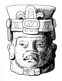 Figure 8. Zapotec urn depicting a person with a headband, possibly the deity Cocijo. Drawing by D. Stuart.