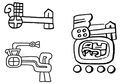 FIgure *. Zapotec headband signs. In the third example it is combined with a Year bearer hieroglyph.