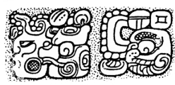 The name of ? Ti' K'awiil from Dos Pilas Stela 8. Drawing by Ian Graham.