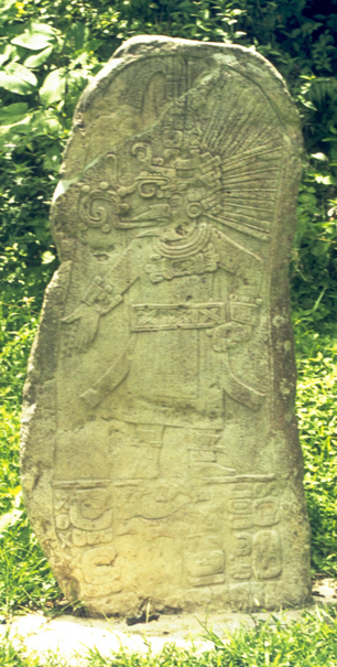 Figure 2. Ceibal Stela 19. Photograph by Linda Schele (103010), courtesy of the Foundation for Mesoamerican Studies, Inc.